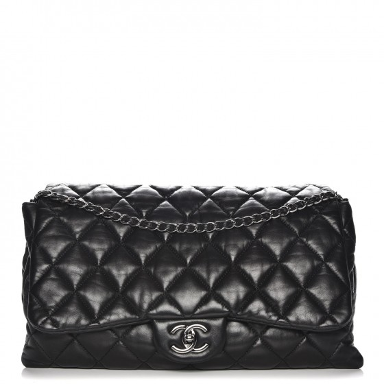 83b4362e1145 CHANEL Lambskin Quilted Maxi Chanel 3 Flap Black 217570