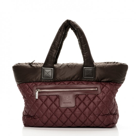 b25216f1ad78be CHANEL Nylon Quilted Medium Coco Cocoon Tote Brown Red 197176