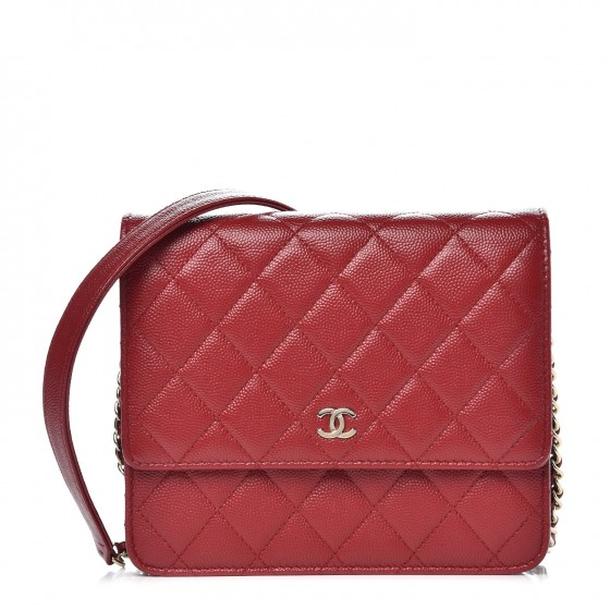 173b002a580c CHANEL Caviar Quilted Square Wallet On Chain WOC Red 346836