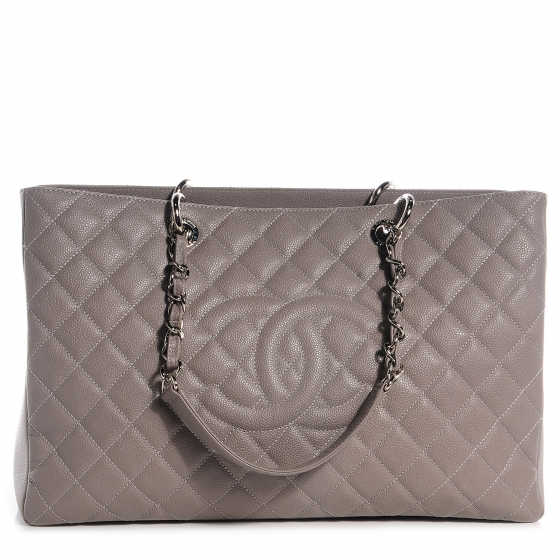 aabb7d3e0f53 CHANEL Caviar XL Grand Shopping Tote GST Light Grey 89761