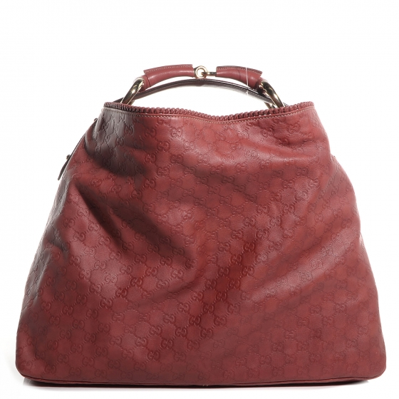 21453f84da64be GUCCI Guccissima Large Horsebit Chain Hobo Red 82004