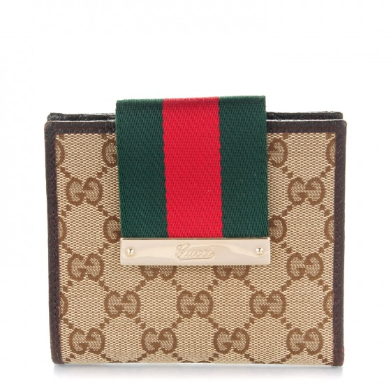 507df926bd11 GUCCI Monogram Ladies Web French Flap Wallet Dark Brown 167229