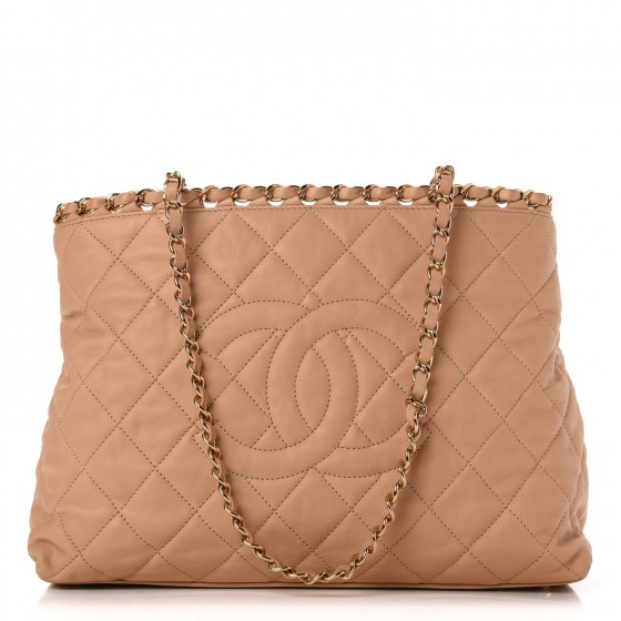 0f468bfc3a99d1 CHANEL Lambskin Quilted Small Chain Me Tote Light Beige 280797