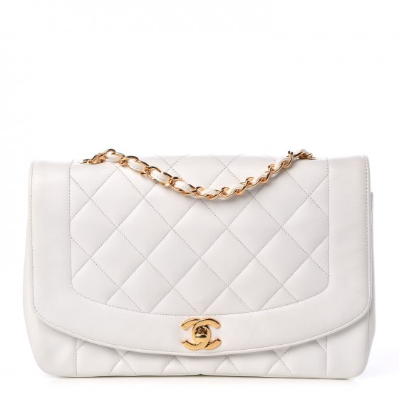 2332982e800d07 CHANEL Lambskin Quilted Medium Single Flap White 315444