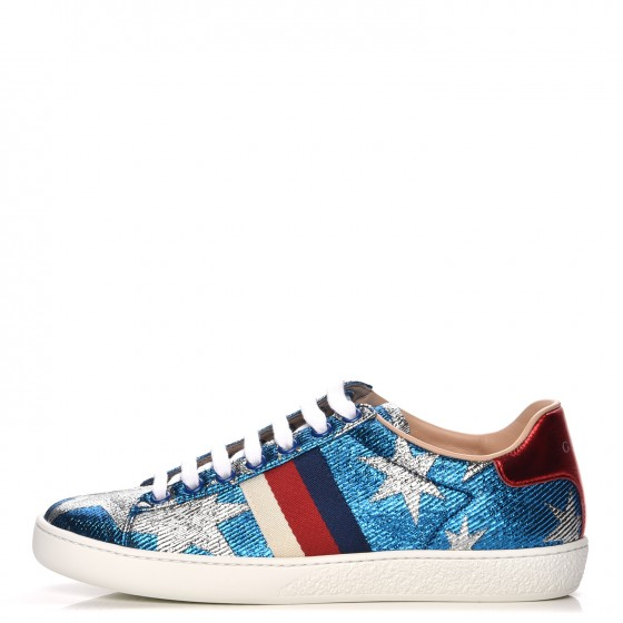 0f5200d4e7ff GUCCI Jacquard Embroidered New Ace Star Sneakers 36 Blue Silver 211029