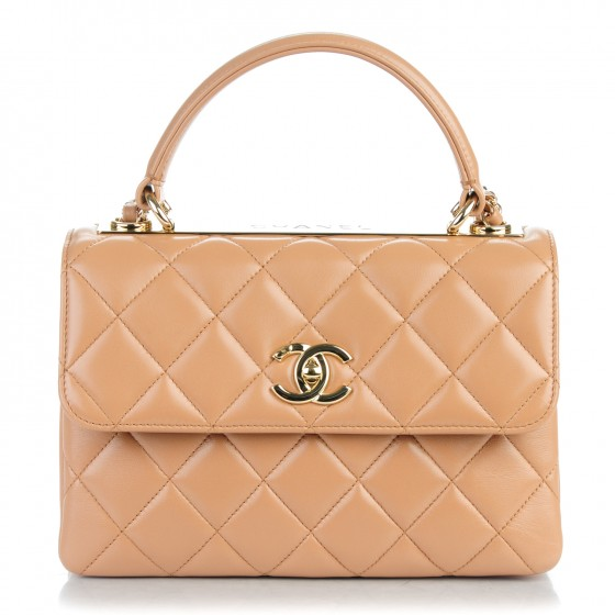 c330972f5f5477 CHANEL Lambskin Quilted Small Trendy CC Dual Handle Flap Bag Beige 159599