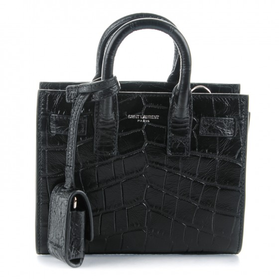 9e23b0b47 SAINT LAURENT Crocodile Embossed Calfskin Toy Sac De Jour Black 159601