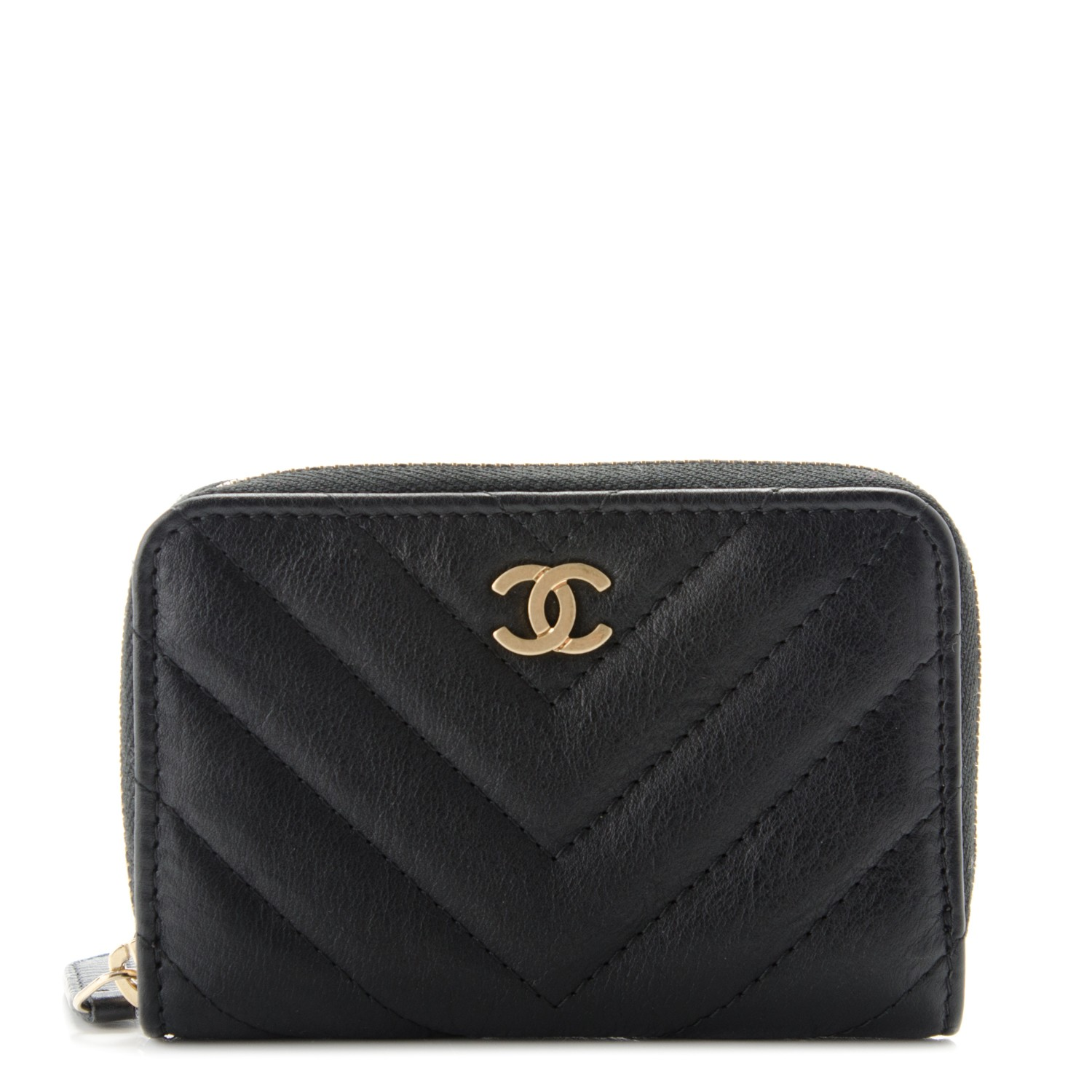9a6b32f26239 CHANEL Calfskin Chevron Quilted Zip Around Coin Purse Wallet Black 178662