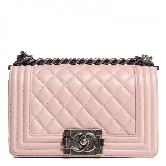 aca389d01e83 CHANEL Lambskin Quilted Small Boy Flap Light Pink 112280