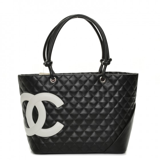 620089c22dd944 CHANEL Calfskin Quilted Large Cambon Tote Black White 196930