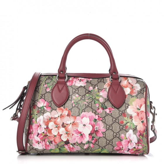 9a989a9b6604e1 GUCCI GG Supreme Monogram Blooms Small Top Handle Bag Antique Rose 301687
