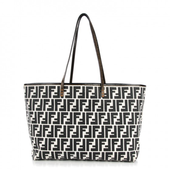 f3ed3eca13 FENDI Zucca Canvas Roll Tote Black White 131330