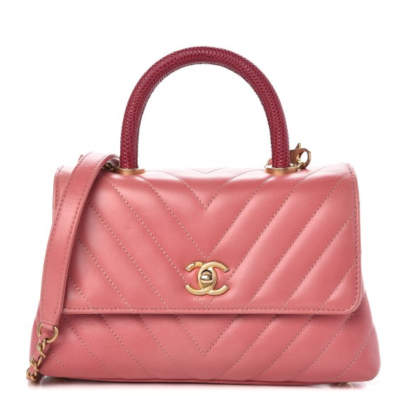 4397096c07bc CHANEL Calfskin Lizard Chevron Quilted Mini Coco Handle Flap Pink 298372