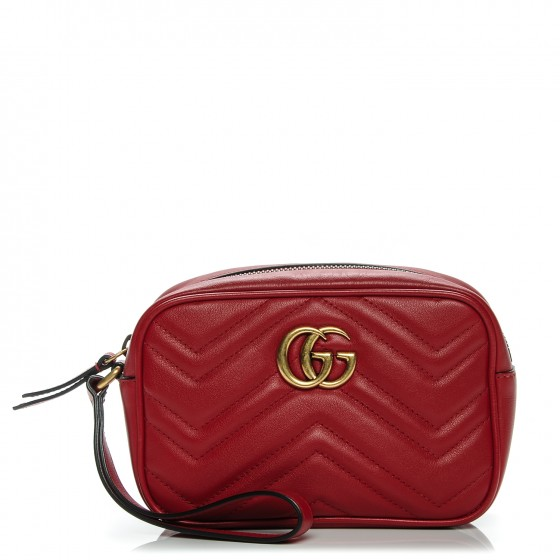 51128f53cf48 GUCCI Calfskin Matelasse Mini GG Marmont Wrist Wallet Hibiscus Red 194447