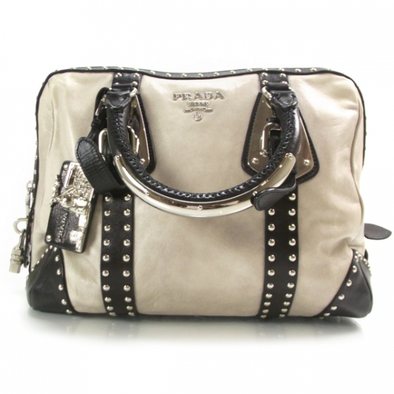 aa7350a02e3e PRADA Nappa Leather Studded Trunk Bag Talco and Nero 19774