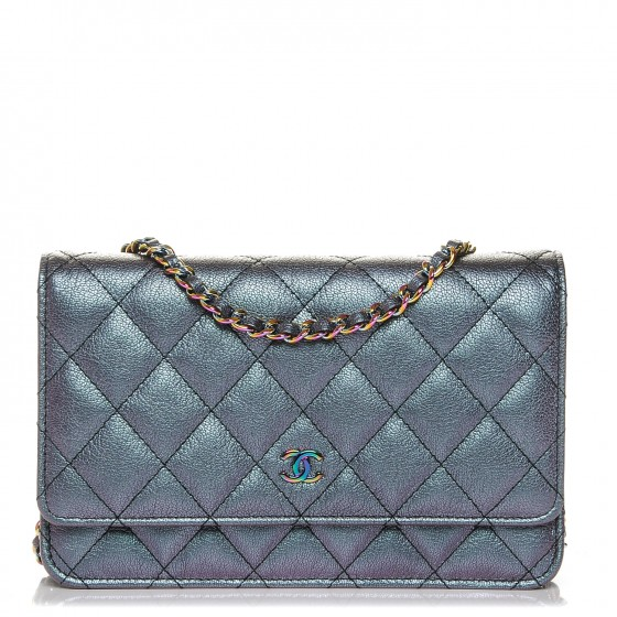 1189355833c5 CHANEL Iridescent Goatskin Quilted Wallet On Chain WOC Purple 202751