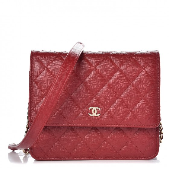 fd29330d6acf CHANEL Caviar Quilted Square Wallet On Chain WOC Red 346529