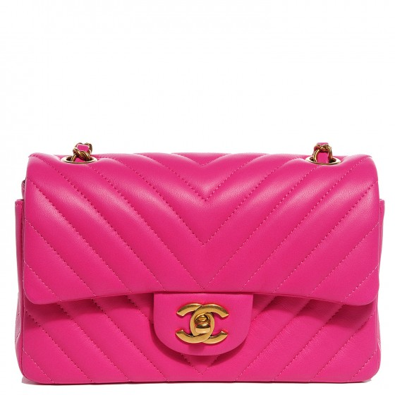 4adde2b9b9bd CHANEL Lambskin Chevron Quilted Mini Rectangular Flap Dark Pink 93666