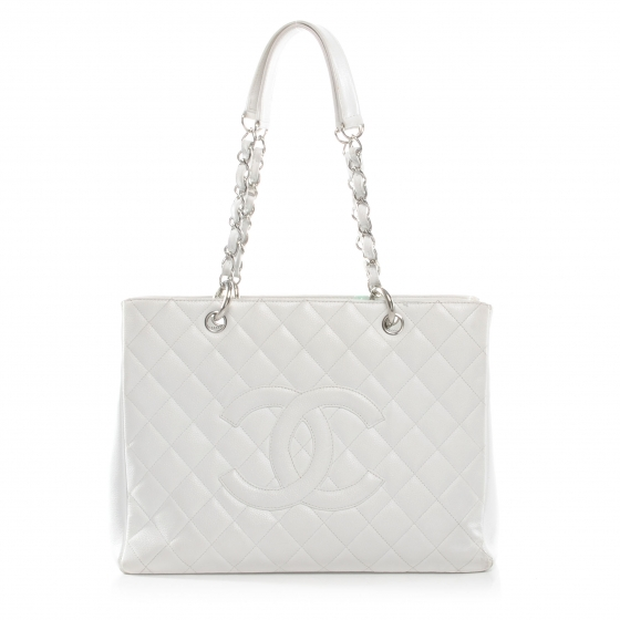 62b76fbfeee2 CHANEL Caviar Grand Shopping Tote GST White 44768
