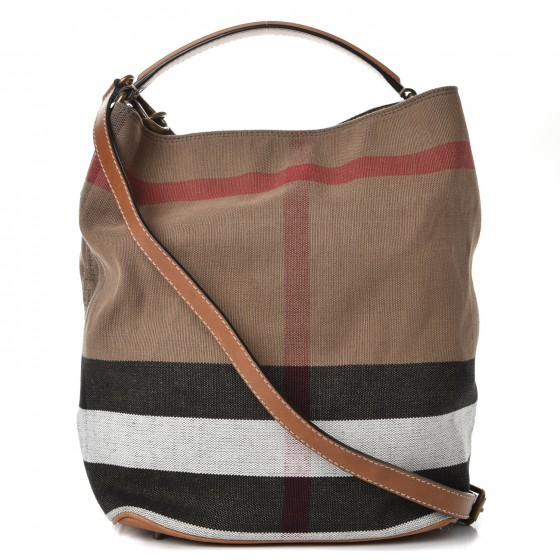 7e8d921e1f58 BURBERRY Canvas Check Medium Ashby Hobo Saddle Brown 236250