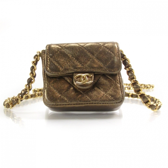 022e1f729d8fa6 CHANEL Quilted Leather Micro Mini Flap Bronze 15574