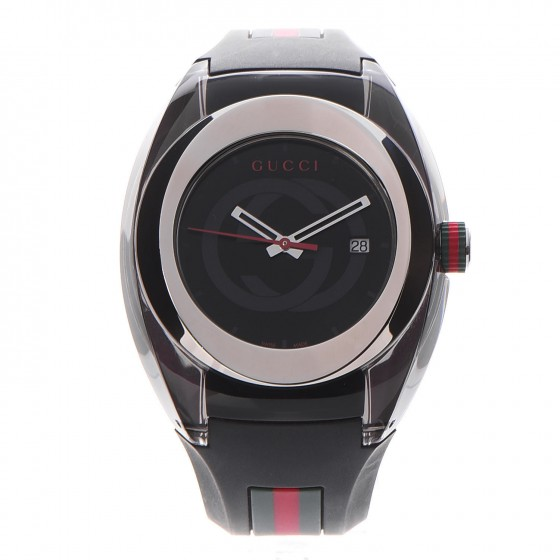 4020b47bee9 GUCCI Rubber Stainless Steel 46mm Sync Web Quartz Watch Black 265813