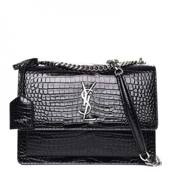 4c0b156d932 SAINT LAURENT Calfskin Crocodile Embossed Medium Monogram Sunset Black  234231