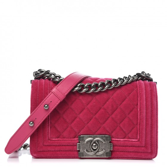 fa2b45cd1aad CHANEL Velvet Quilted Small Boy Flap Pink 329597