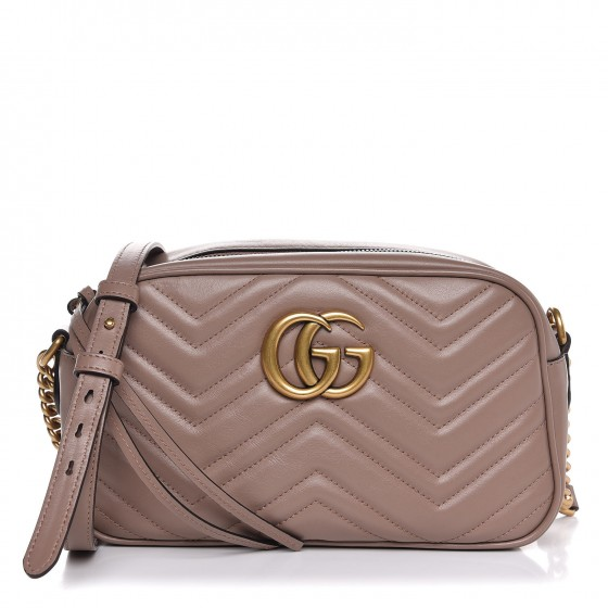 5dc00c85a654 GUCCI Calfskin Matelasse Small GG Marmont Bag Taupe 312665