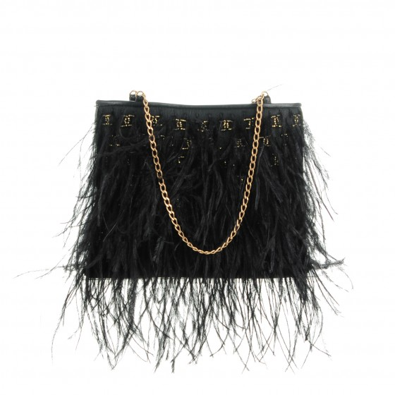 3351929bdae917 CHANEL Ostrich Feather Beaded CC Evening Bag Black 154840