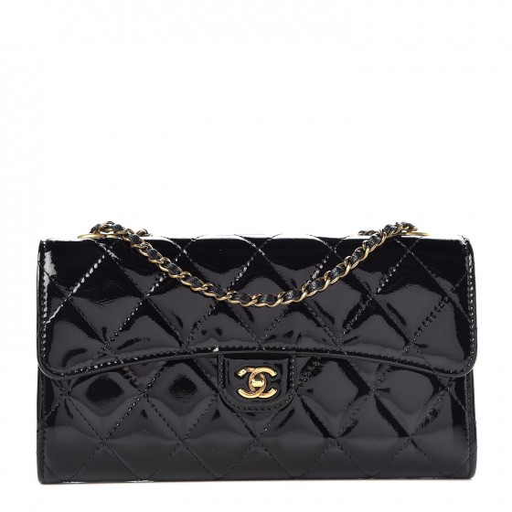 181c7303cd9b CHANEL Patent Goatskin Quilted Small CC Eyelet Wallet On Chain WOC Black  342300