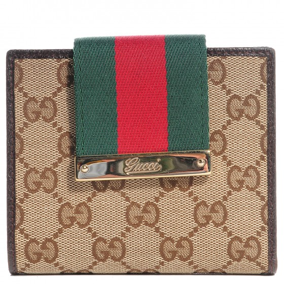e5457af75c49 GUCCI Monogram Ladies Web French Flap Wallet Dark Brown 102632