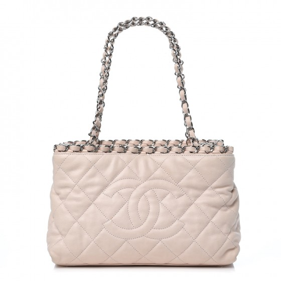 663ad7c04215fb CHANEL Lambskin Quilted Mini Chain Me Tote Light Beige 315029