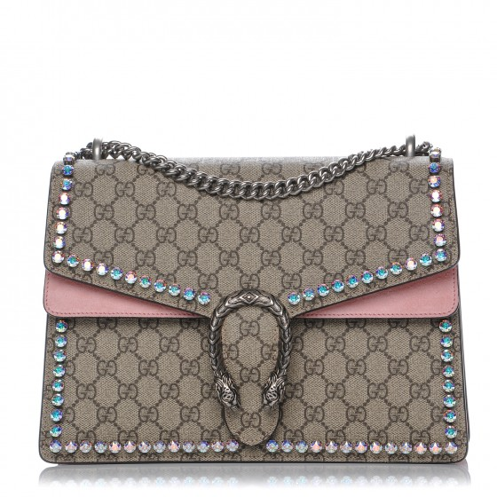 c8071e45bc1 GUCCI GG Supreme Monogram Crystal Medium Dionysus Shoulder Bag Pink 204132