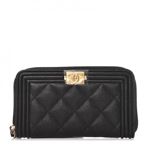62ef84094ef4 CHANEL Caviar Quilted Boy Small Zip Around Wallet Black 242940