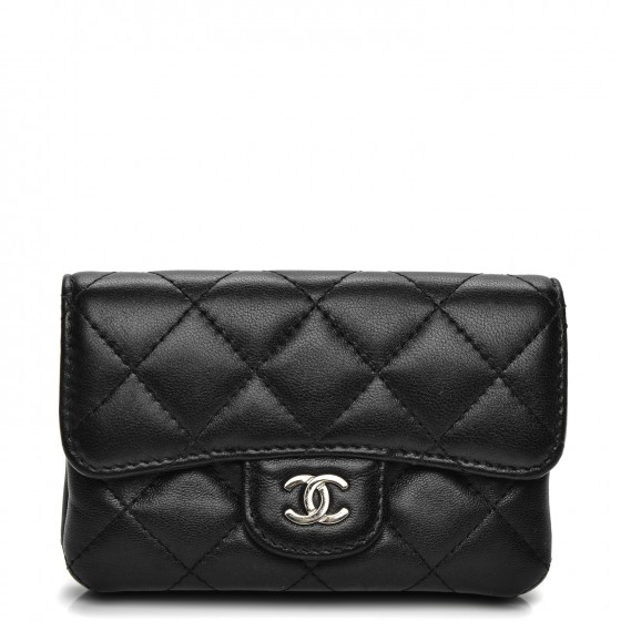 1ba04f2f5cd3 CHANEL Lambskin Quilted Coin Purse Black 197825
