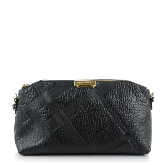 22a1cc7c5bbc BURBERRY Signature Grain Calfskin Check Embossed Small Chichester Crossbody Clutch  Bag Black. Empty. Pinch Zoom. ‹ › ‹ ›