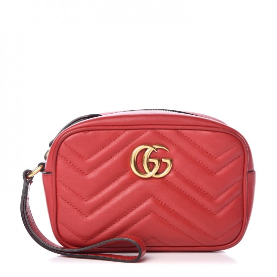 c485c2535205 GUCCI Calfskin Matelasse Mini GG Marmont Wrist Wallet Hibiscus Red 352163