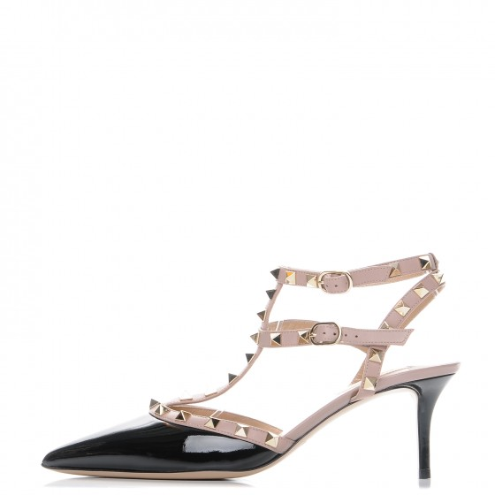 61ae2adfc VALENTINO Patent Rockstud Ankle Strap Pumps 39 Black Poudre. Empty. Pinch/ Zoom. ‹ › ‹ ›