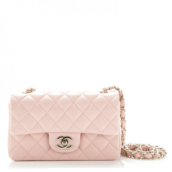 24ac31d6a49a CHANEL Lambskin Quilted Mini Rectangular Flap Light Pink 180489