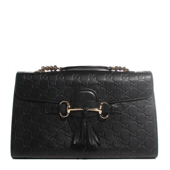 1a58fedc6ab24f GUCCI Guccissima Medium Emily Chain Shoulder Bag Black. Empty. Pinch/Zoom.  ‹ › ‹ ›
