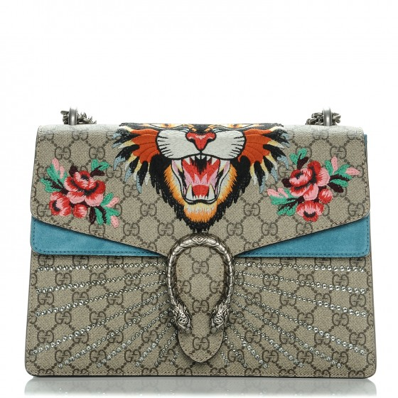 d83fff2962b2 GUCCI GG Supreme Monogram Embroidered Medium Dionysus Angry Cat Shoulder  Bag Light Blue 199731