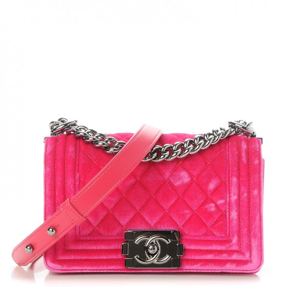 77302ae9bbfc CHANEL Velvet Quilted Small Boy Flap Fuchsia. Empty. Pinch Zoom. ‹ › ‹ ›