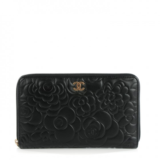 3886387f CHANEL Lambskin Camellia Embossed Large Zip Around Gusset Wallet ...