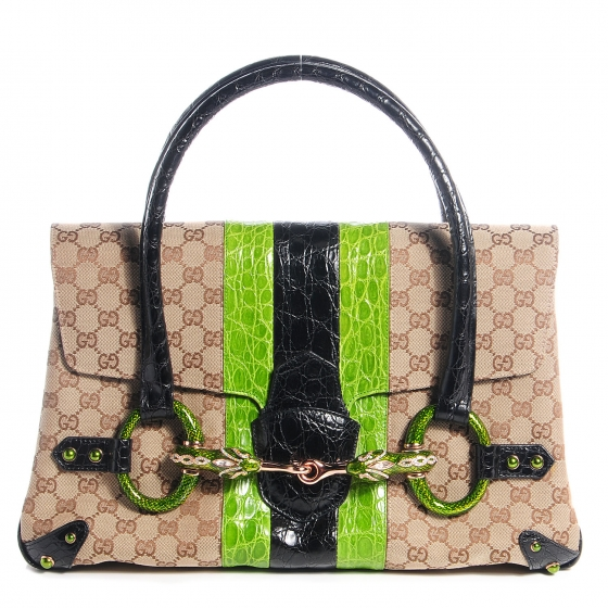 37e38f81b GUCCI Crocodile Web Tom Ford Dragon Tote 75293