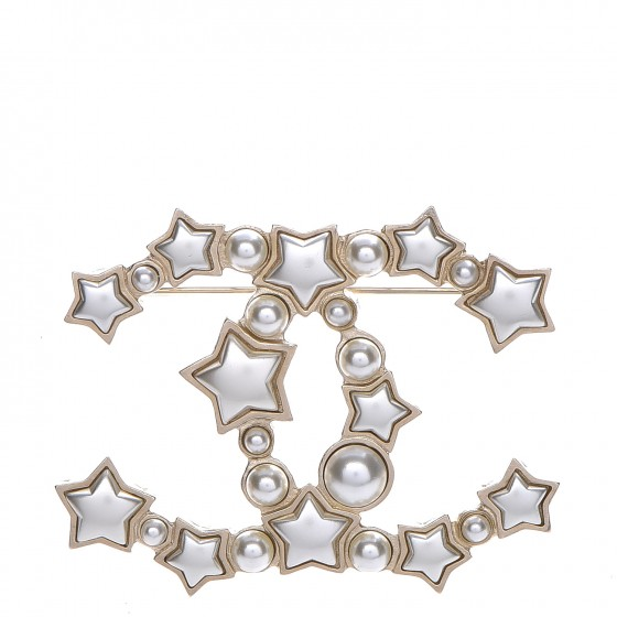 f62395329cb CHANEL Star Resin Pearl Large CC Brooch Gold 215538