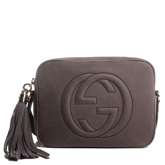 4ed3fe69e8a3 GUCCI Nubuck Small Soho Disco Bag Grey 88425