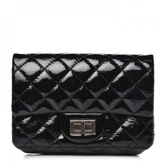 9028c11d5379 CHANEL Patent Quilted Reissue Flap Clutch Bag Black 352510