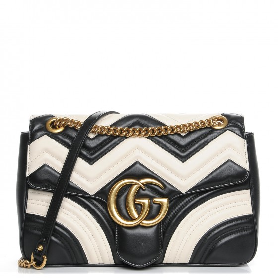 8757e507a2e9 GUCCI Calfskin Medium GG Marmont Matelasse Shoulder Bag Black White 211357