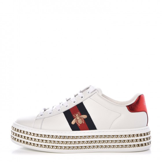 d90aba001 GUCCI Ayers Embroidered Crystal Ace Bee Star Platform Sneakers 36 White  338553